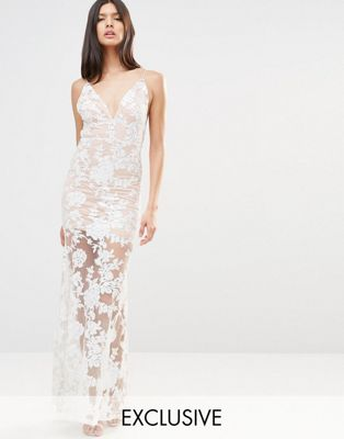 Image 1 of Club L Cami Strap Floral Sequin Fishtail Backless Maxi Dress