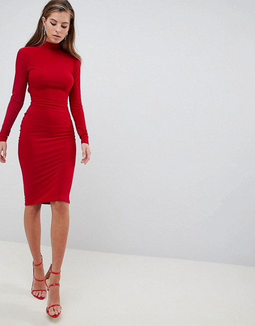 d0ede34e5179 Shoptagr | Club L High Neck Ruched Detailed Open Back Slinky Midi Dress by  Club L