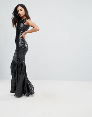 Image 1 of Club L Mesh Insert Sequin Maxi Dress