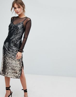 Image 1 of Coast Gisella Ombre Sequin Mesh Dress
