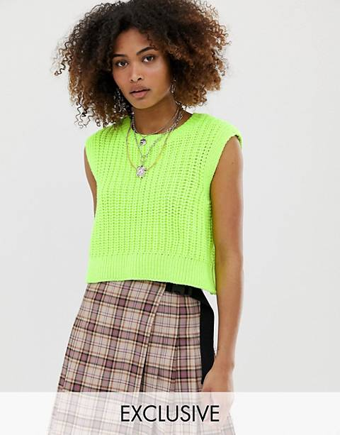 COLLUSION knitted cropped neon vest
