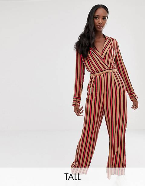 COLLUSION Tall stripe wrap jumpsuit