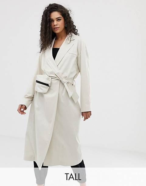 COLLUSION Tall trench coat with removable bag
