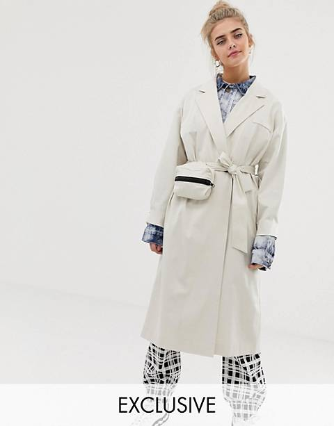 COLLUSION trench coat with removable bag