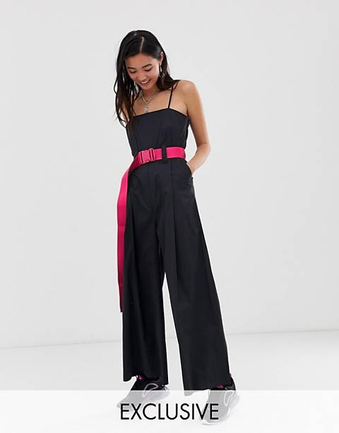 COLLUSION wide leg jumpsuit with belt