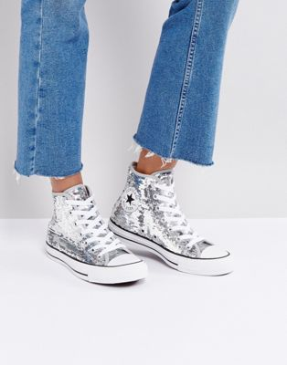 Image 1 of Converse Chuck Taylor High Sneakers In Silver Sequin