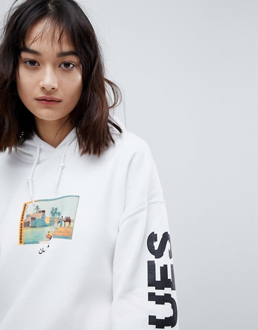 white Crooked print postcard oversized Tongues with in Tongues hoodie Crooked q4T4xrYwp