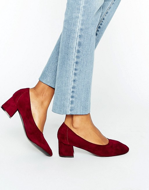 Daisy Street Burgundy Mid Heeled Shoes