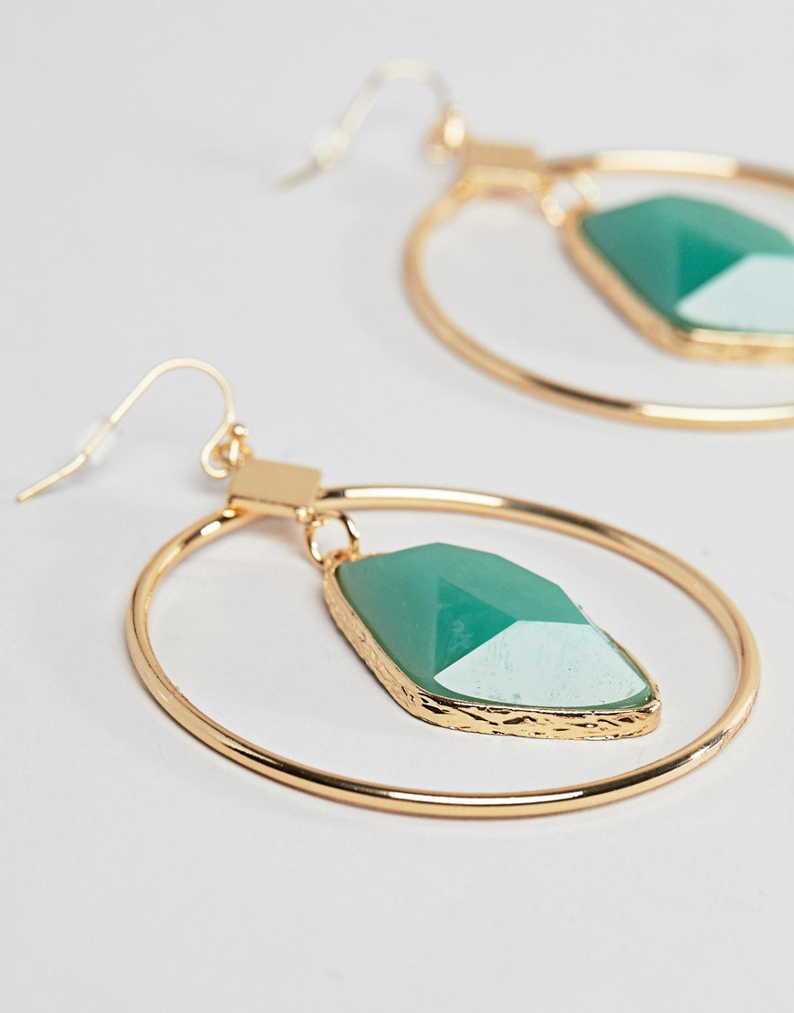 Design B London Resin Detail Drop Hoop Earring by Design B