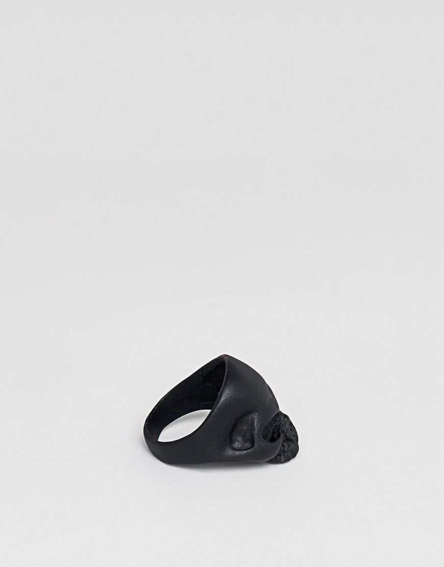 Design B Skull Ring In Black Exclusive To Asos by Design B