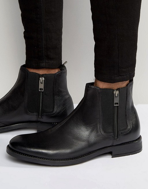 Diesel Leather Zip Chelsea Boots