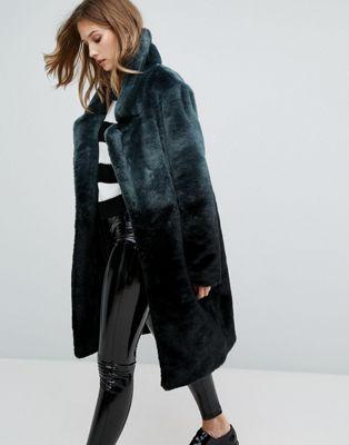 Длинное пальто из искусственного меха с эффектом омбре Urbancode