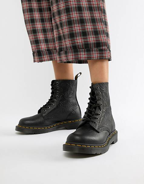 Dr Martens 1460 Pascal Embossed Black Leather Flat Ankle Boots