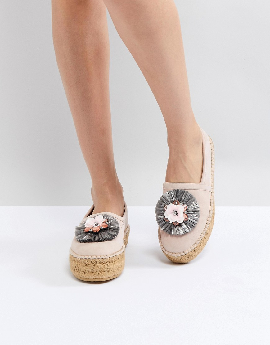 Pink Suede Espadrille With Raffia Embellished Flower - Blush suede Dune London
