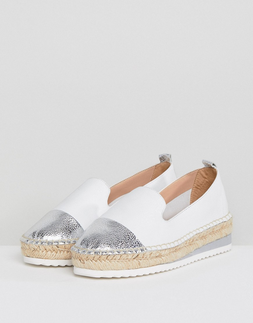 Dune Slip Leather Espadrilles With Silver Toe Cap