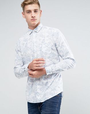 Image 1 of Esprit Shirt In Slim Fit With All Over Leaf Print