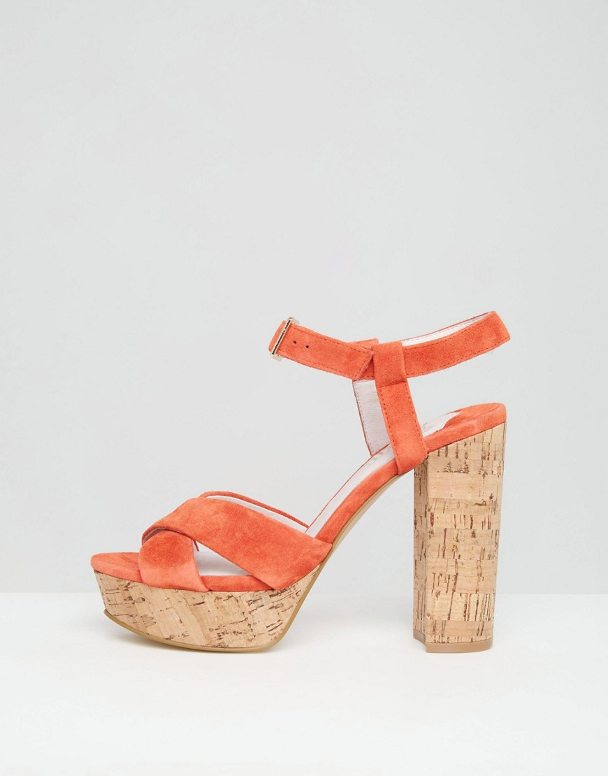 Leela Platform Heeled Sandals - Orange Faith