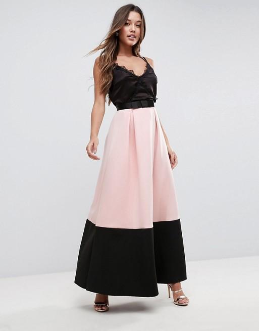 Falda larga de neopreno con detalle colour block de ASOS