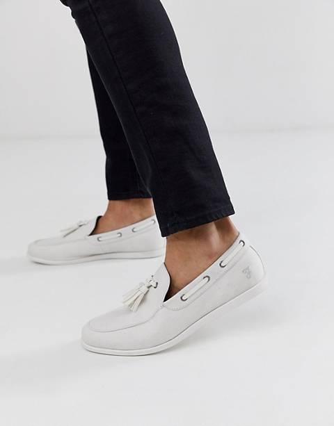 Farah boat shoe in off white