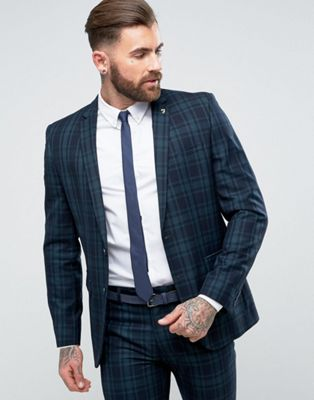Image 1 of Farah Skinny Suit Jacket In Check