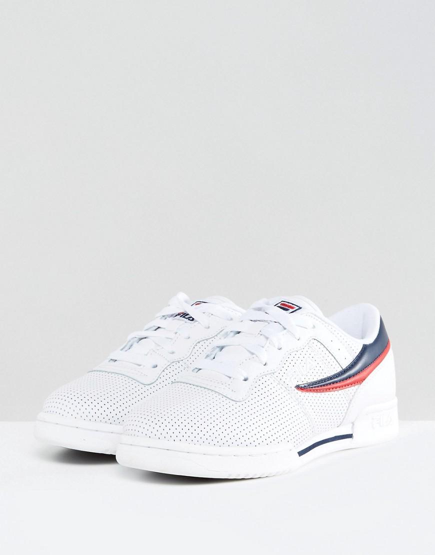 Fila Chaussures De Sport Perforé Logo - Blanc