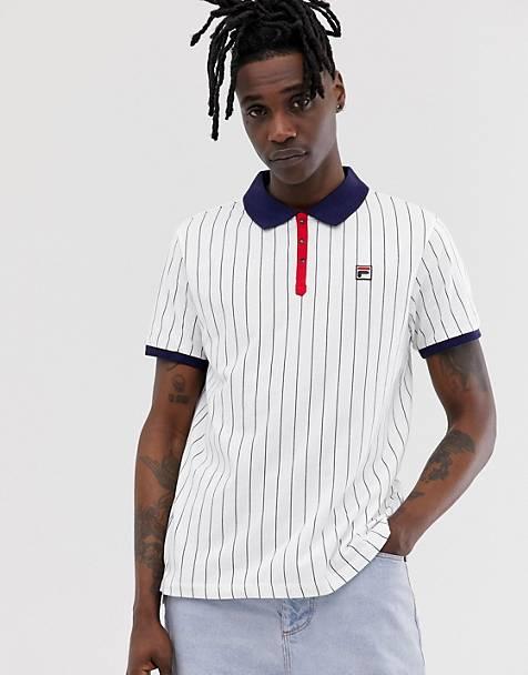 Fila striped short sleeve polo in white