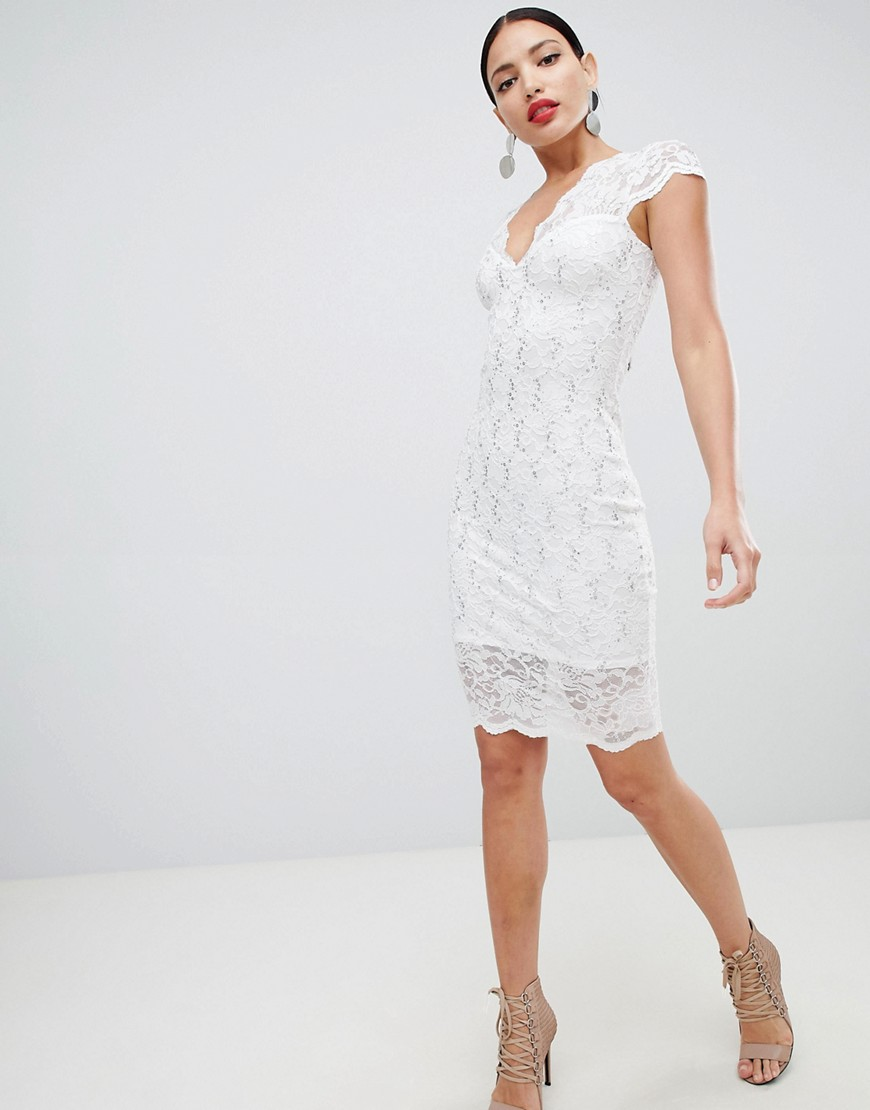 Flounce London Scalloped Sequin Lace Midi Dress With Cap Sleeve In White by Flounce London