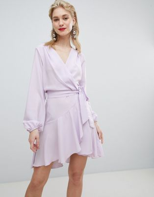 Image 1 of Flounce London wrap front mini dress in lilac