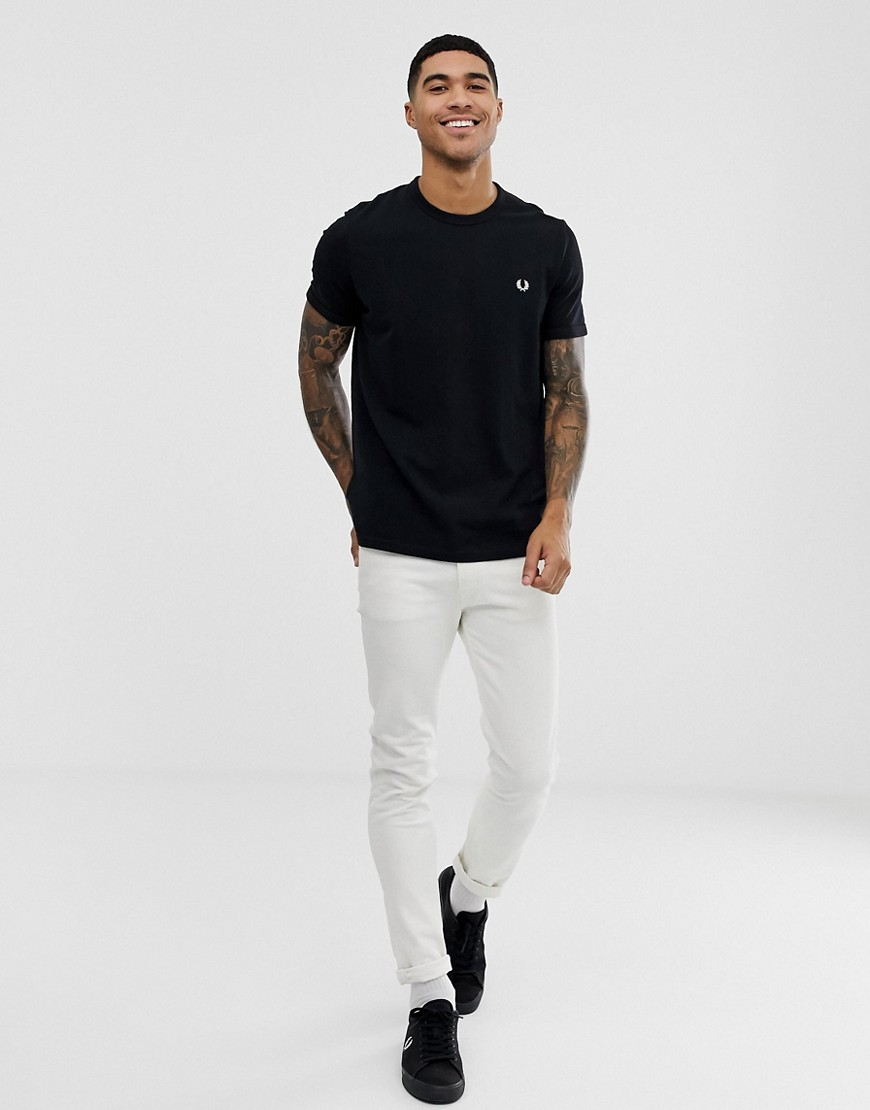 Fred Perry Pique Logo T Shirt In Black by Fred Perry