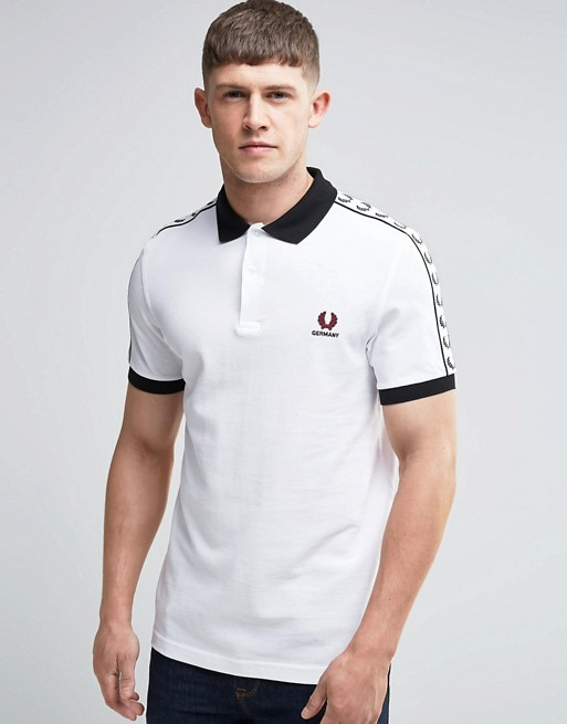 fred perry fred perry polo allemagne blanc. Black Bedroom Furniture Sets. Home Design Ideas