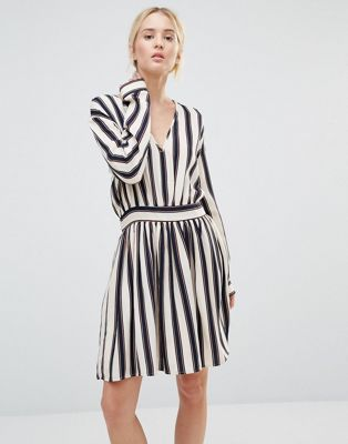 Image 1 of Gestuz Philla Striped Mini Dress With Deep V Neck