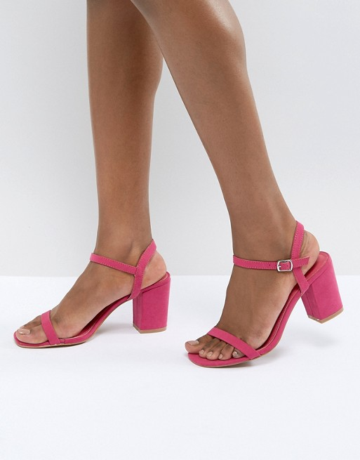 Sandalias De Tacón De Bloque De Color Rosa - Fucsia Glamour Descuento perfecto Compras en línea Venta en línea 8sBoU