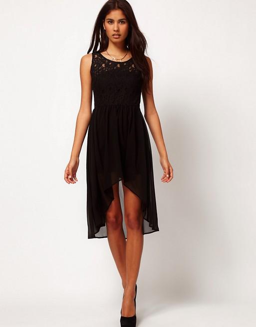 Glamorous glamorous robe en dentelle et mousseline - Coupe courte devant et longue derriere ...