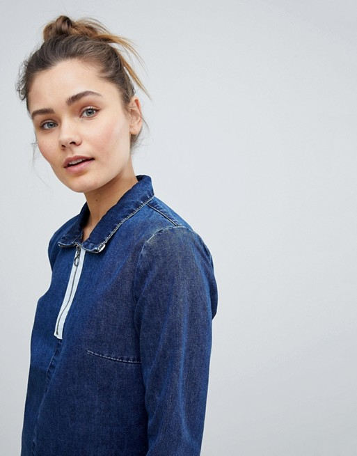 Glamorous - Robe en jean avec col à fermeture éclair