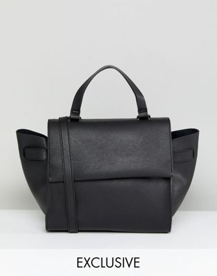 Image 1 of Glamorous Structured Tote Bag in Black With Cross Body Strap