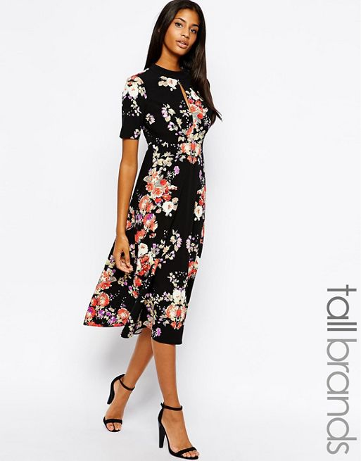 Glamorous tall glamorous tall high neck floral print for Robe fleurie asos
