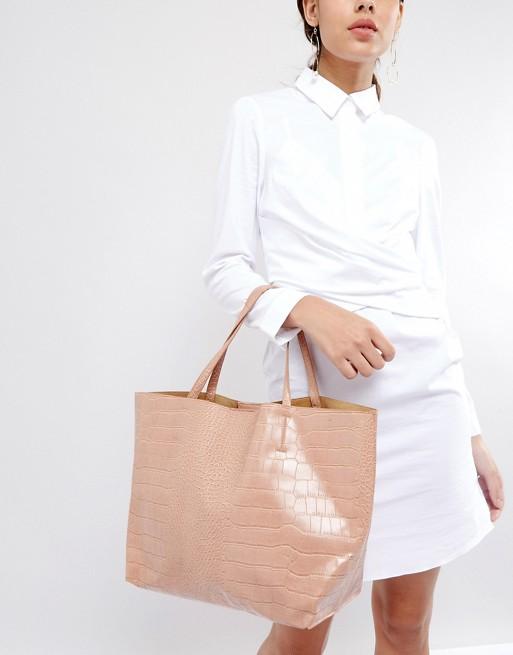 Glamorous - Tote bag imitation croco - Rose poudré