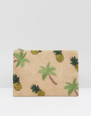 Image 1 of Glamorous Zip Top Pouch With Tropical Embroidery