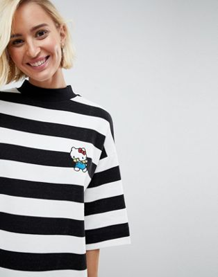 Image 1 of Hello Kitty X ASOS Breton Stripe Mini Sweat Dress