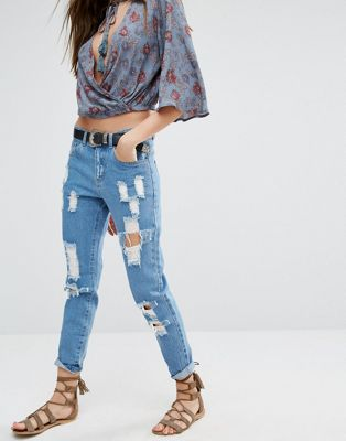 Image 1 of Honey Punch Distressed Boyfriends Jeans