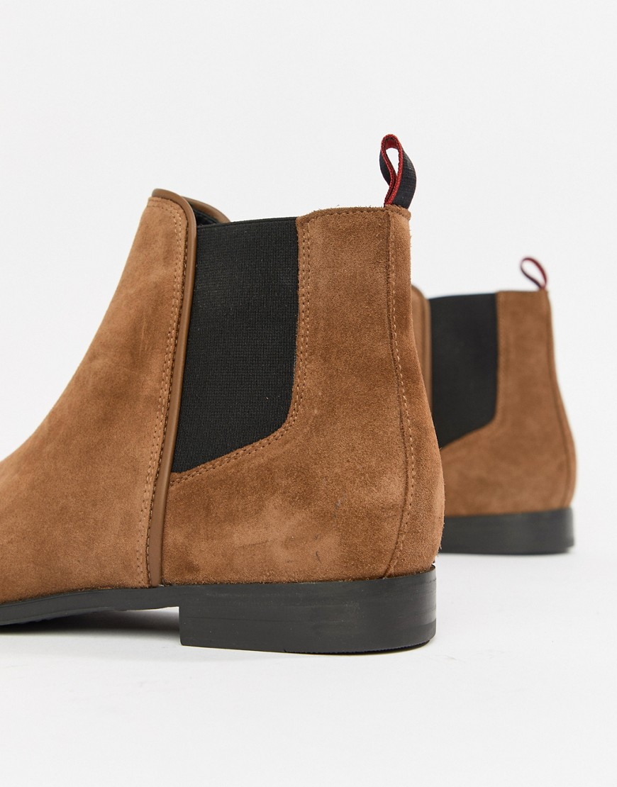 Hugo Boheme Suede Chelsea Boot In Tan by Hugo