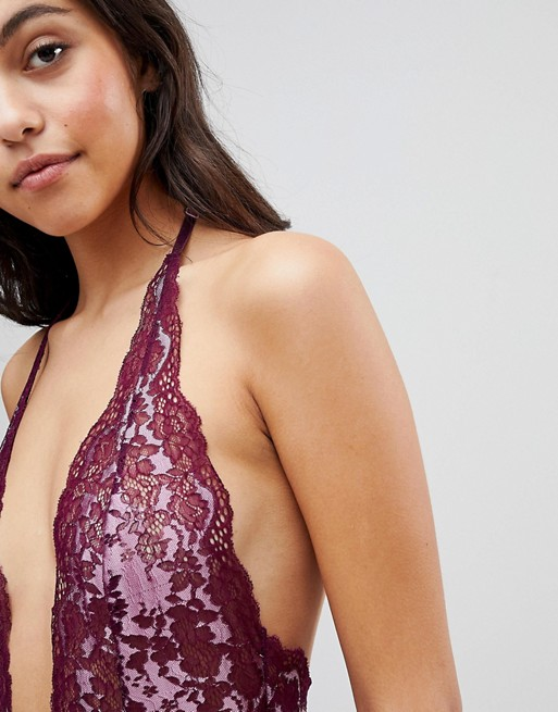 Manchester Great Sale Cheap Price Rebel Lace Halter Neck High Leg Body - Purple Hunkemöller Clearance Pre Order Free Shipping With Credit Card Limited Edition Cheap Price x23yKRnxr