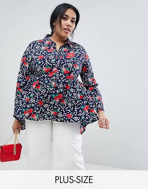 Influence Plus floral print dim hem peplum shirt