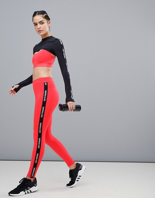 Red Park Side Taped Active Stripe Leggings Logo In Ivy 8dA1wq1