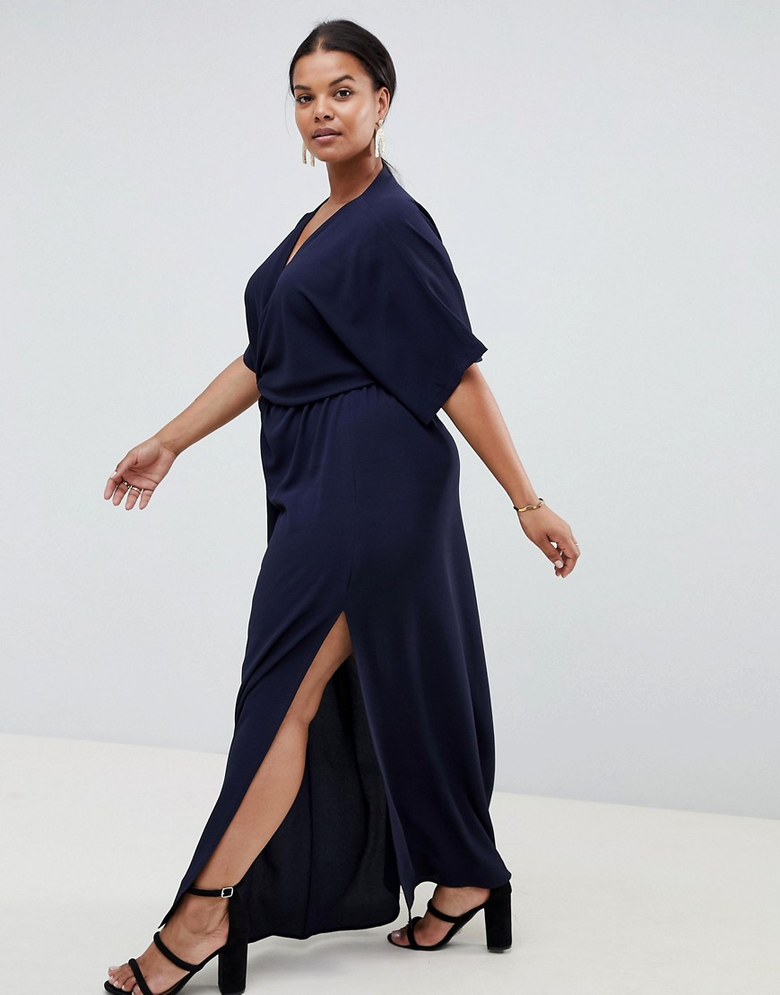 John Zack Plus Knot Front Maxi Dress In Navy by John Zack Plus