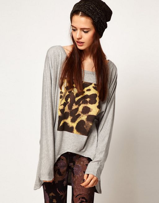 Image 1 of Just Female Top With Leopard Print