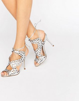 Image 1 of KG By Kurt Geiger Horatio Silver Leather Heeled Sandals