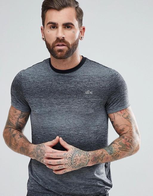 Lacoste - T-shirt sport avec empiècement en maille métallisée au dos - Noir