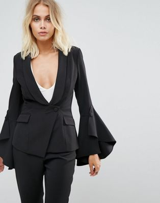 Image 1 of Lavish Alice Frill Sleeve Fitted Blazer