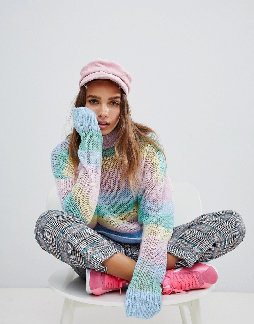 Lazy Oaf Pastel Rainbow Stripe Fine Knit Jumper by Lazy Oaf